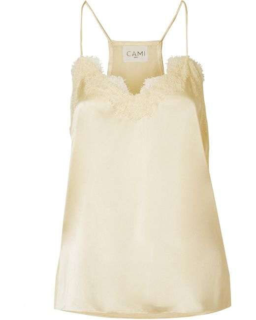 Cami NYC - Multicolor The Racer Lace-trimmed Silk-charmeuse Camisole - Lyst