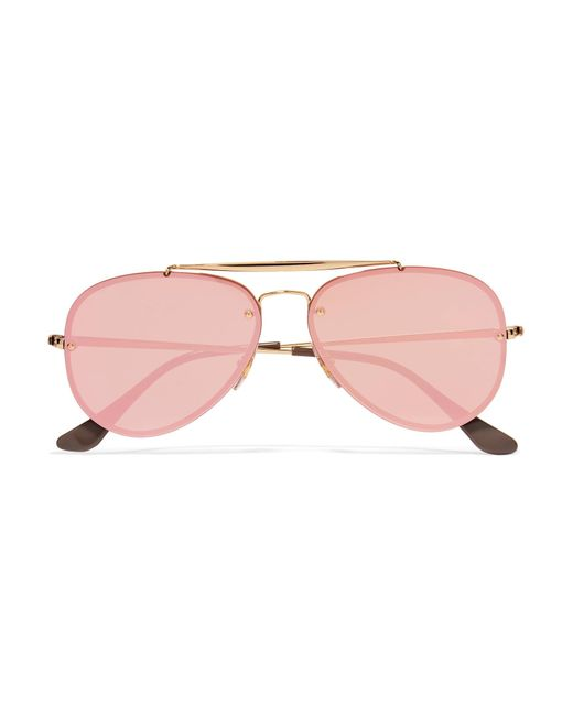 Ray-Ban - Pink Aviator Gold-tone Mirrored Sunglasses - Lyst