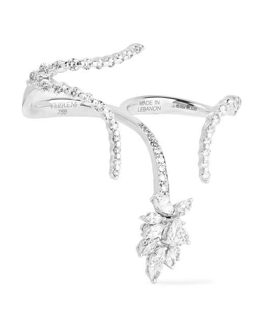 YEPREM - Metallic 18-karat White Gold Diamond Two-finger Ring - Lyst