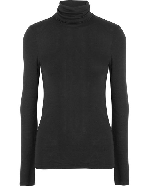 Splendid - Black Supima Cotton And Modal-blend Turtleneck Sweater - Lyst