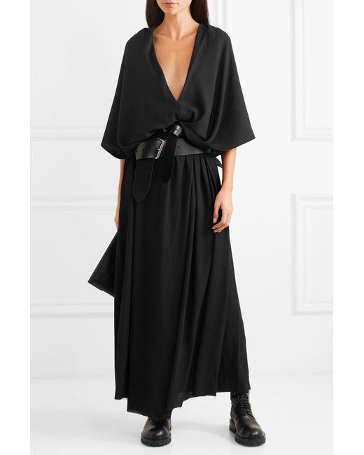 Lyst Ann Demeulemeester Hooded Crepe Maxi Dress In Black