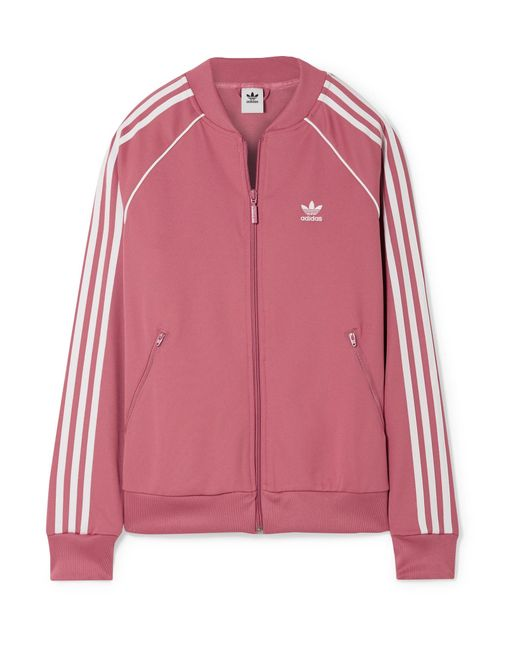 4728f9816840 Adidas Originals - Pink Sst Striped Jersey Track Jacket - Lyst ...