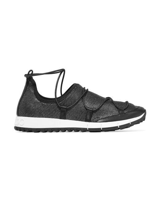 Jimmy Choo   Black Andrea Leather-trimmed Metallic Mesh Slip-on Sneakers   Lyst