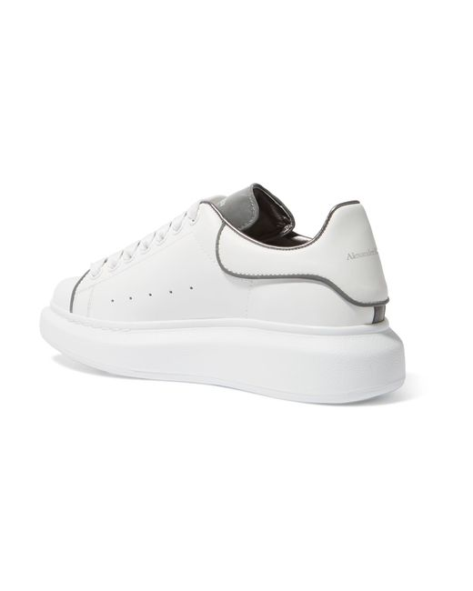 ... Alexander McQueen - White Reflective-trimmed Leather Exaggerated-sole  Sneakers - Lyst ... f92cb4899ab5