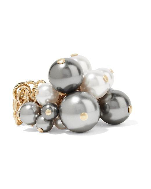Lanvin | Metallic Gold-tone Faux Pearl Ring | Lyst