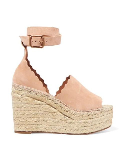 5707a0b385 Chloé - Natural Lauren Scalloped Suede Espadrille Wedge Sandals - Lyst ...