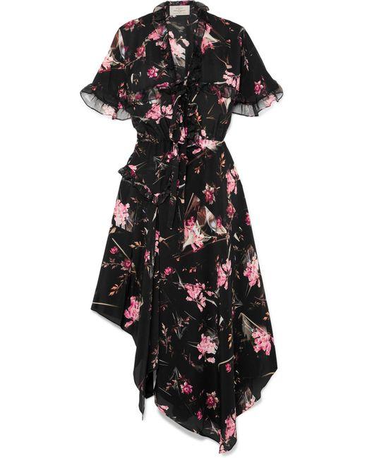 Preen By Thornton Bregazzi - Black Clara Floral-print Silk-chiffon Midi Dress - Lyst