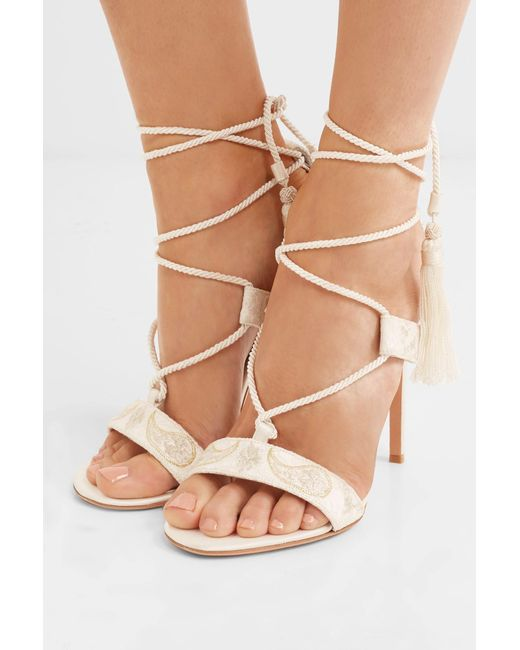 9b4498a7eccd ... Etro - White Embroidered Lace And Satin Sandals - Lyst ...