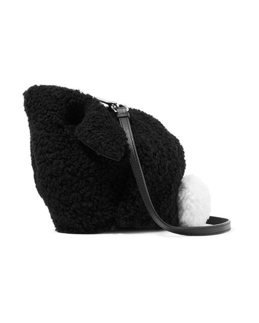 Loewe - Black Bunny Leather-trimmed Shearling Shoulder Bag - Lyst