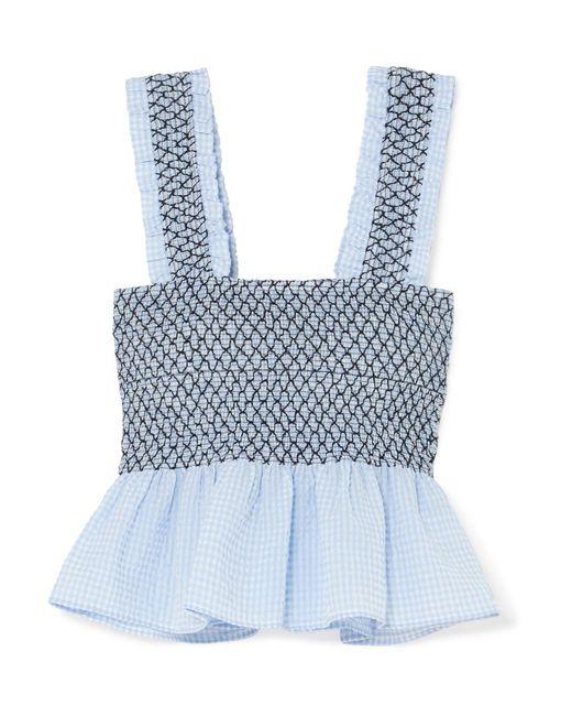 Ganni - Blue Charron Shirred Gingham Cotton-blend Seersucker Top - Lyst