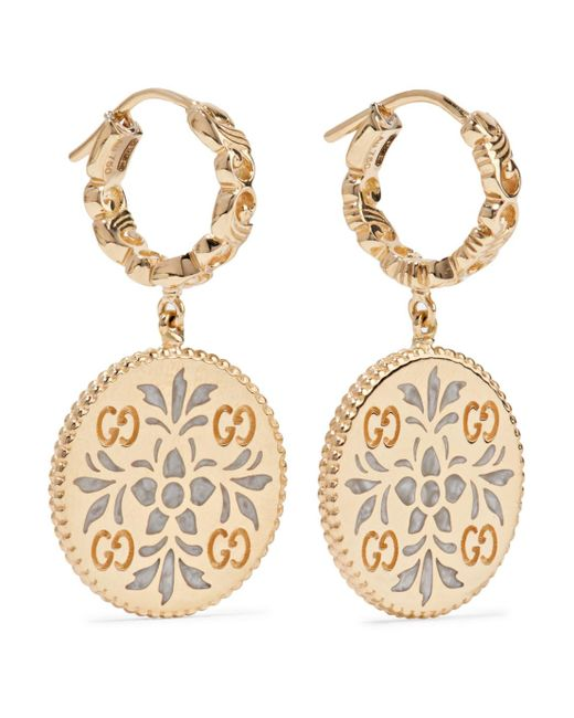 Gucci - Metallic Icon 18-karat Gold And Enamel Earrings - Lyst