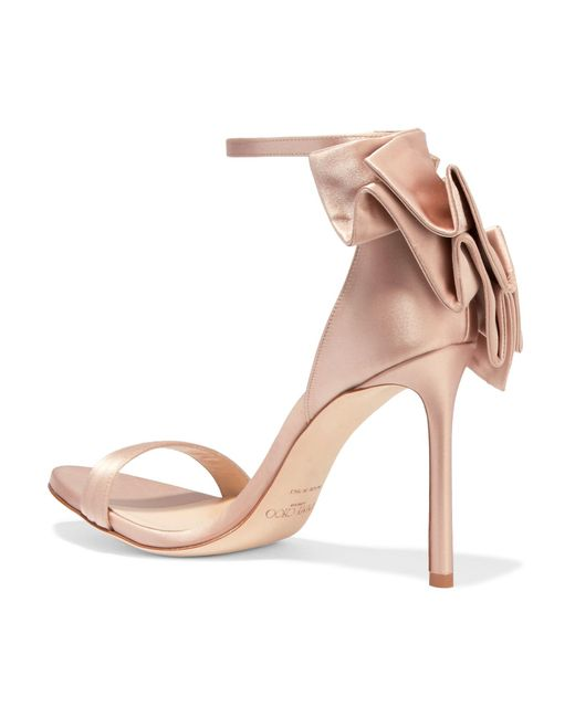 ... Jimmy Choo - Multicolor Kerry Ruffled Satin Sandals - Lyst ...