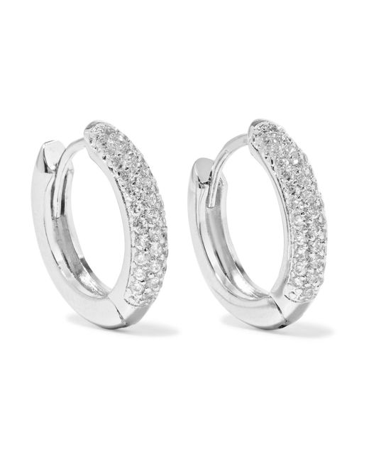 Kenneth Jay Lane | Metallic Silver-tone Cubic Zirconia Hoop Earrings | Lyst