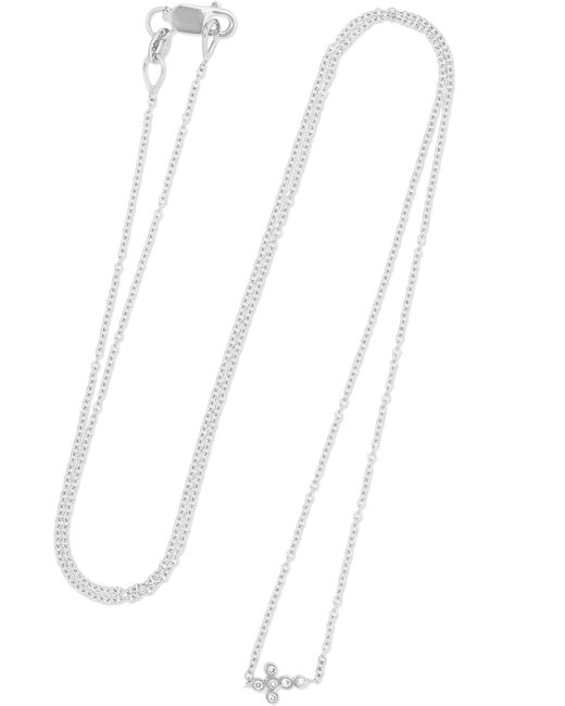 Ileana Makri - Mini Cross 18-karat White Gold Diamond Necklace - Lyst