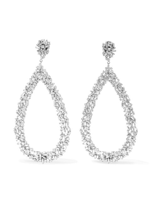 Suzanne Kalan - Metallic 18-karat White Gold Diamond Earrings - Lyst