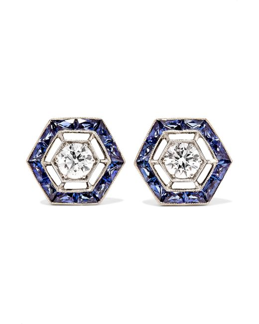 Fred Leighton - Blue Collection 18-karat White Gold, Sapphire And Diamond Earrings - Lyst
