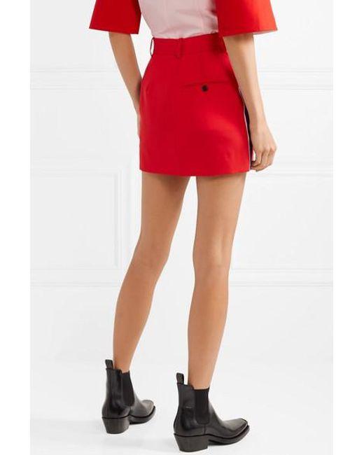 bf134ddc3f ... CALVIN KLEIN 205W39NYC - Red Striped Wool-twill Mini Skirt - Lyst ...