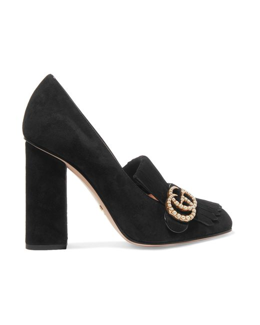 Gucci - Black Marmont Faux Pearl-embellished Fringed Suede Pumps - Lyst
