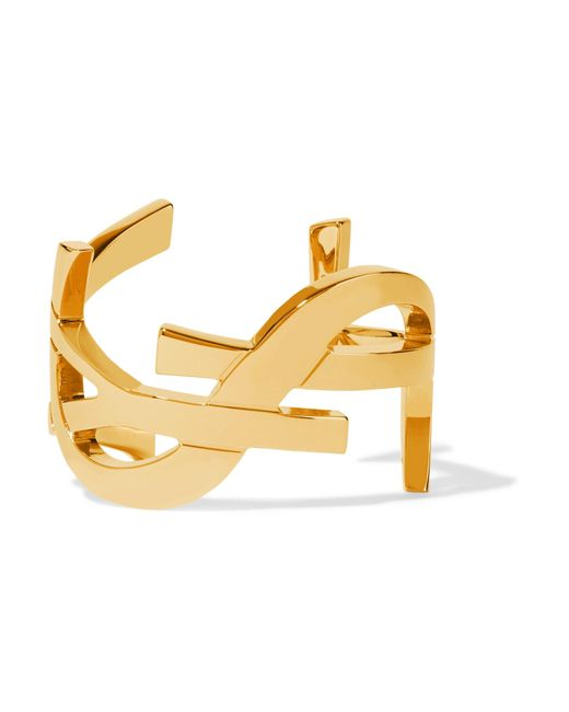 Saint Laurent | Metallic Monogramme Gold-plated Cuff | Lyst
