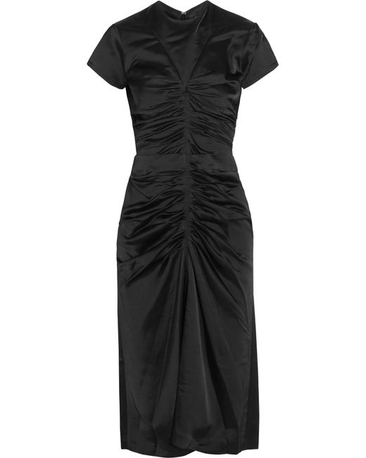 Isabel Marant - Black Else Ruched Satin Midi Dress - Lyst