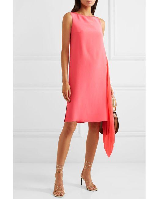 9f246e72fd ... Akris - Pink Asymmetric Mulberry Silk Crepe De Chine And Georgette Dress  - Lyst ...