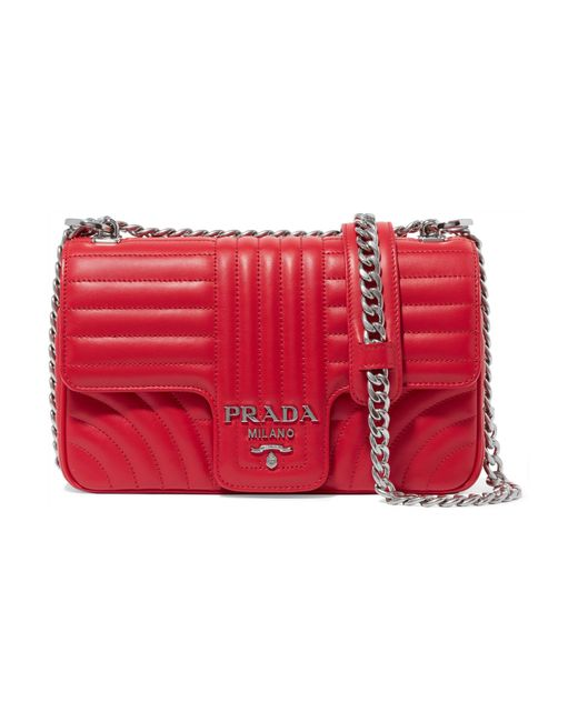 86e203769550 Lyst - Prada Diagramme Leather Shoulder Bag in Red - Save 5%