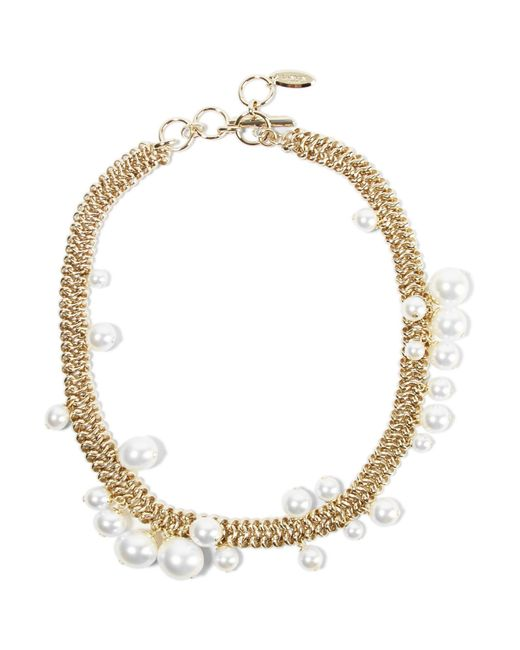 Lanvin | Metallic Gold-tone Faux Pearl Necklace | Lyst