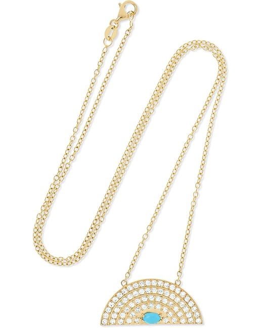 Andrea Fohrman - Metallic Rainbow Medium 18-karat Gold, Diamond And Turquoise Necklace - Lyst