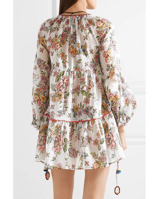 Sabrina Printed Cotton-gauze Mini Dress - White Anjuna rMkJdzms9