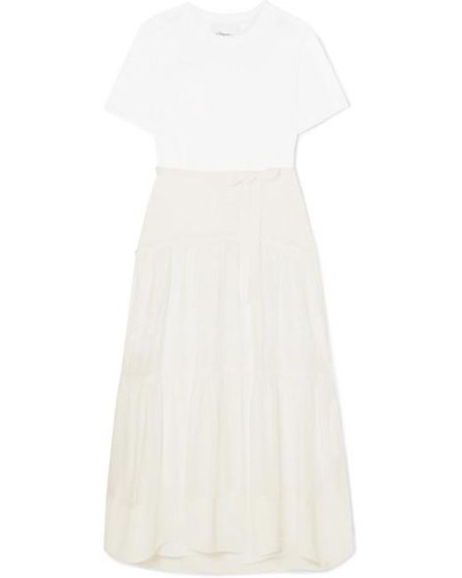 3f5d114695ad 3.1 Phillip Lim - White Paneled Belted Silk, Cotton And Lace Midi Dress -  Lyst ...