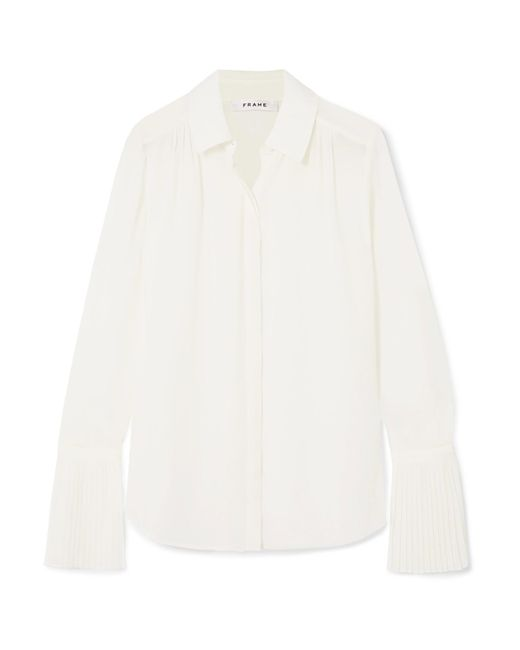 FRAME - White Pleated Crepe De Chine Shirt - Lyst