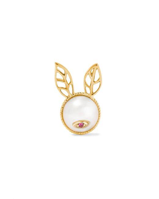 Yvonne Léon   Metallic 18-karat Gold, Pearl And Ruby Earring   Lyst