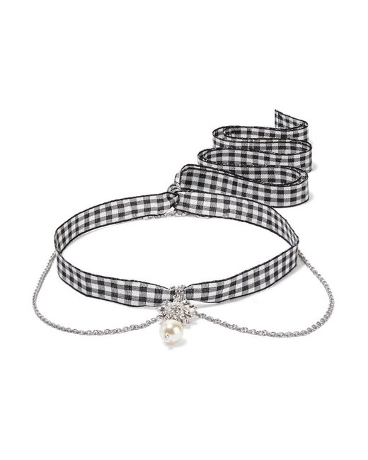Miu Miu | Metallic Gingham Cotton, Silver-tone, Crystal And Faux Pearl Necklace | Lyst