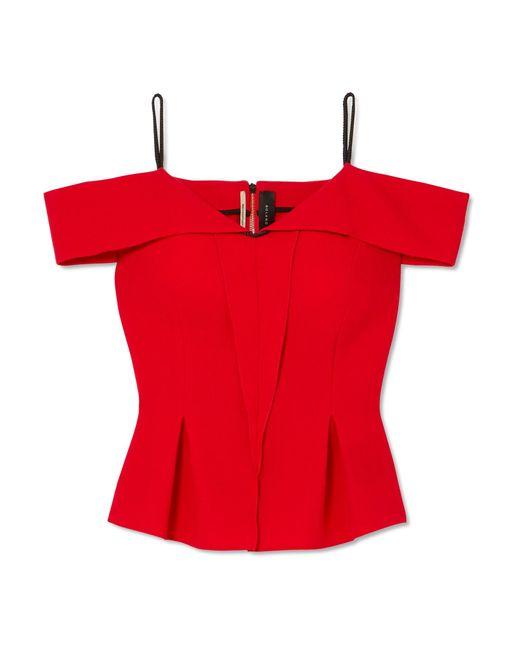 Roland Mouret - Red Cold-shoulder Wool-crepe Top - Lyst