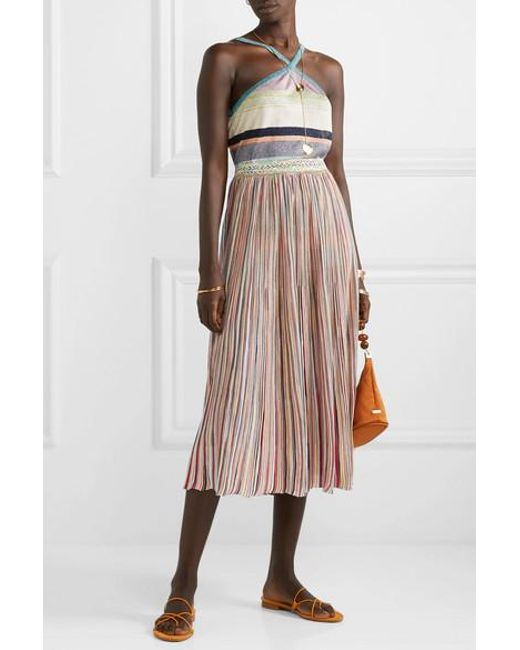 d03bd96db ... Missoni - Pink Pleated Crochet-knit Midi Skirt - Lyst ...