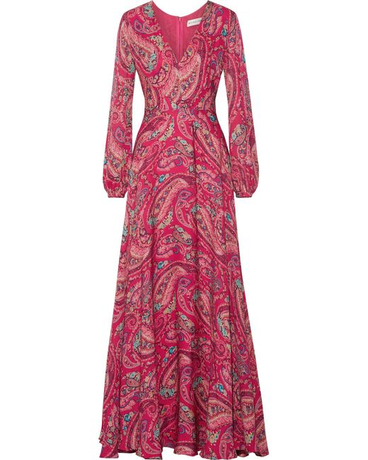 Etro | Pink Printed Silk Crepe De Chine Gown | Lyst