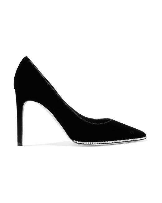 Rene Caovilla - Black Faux Pearl-embellished Velvet Pumps - Lyst