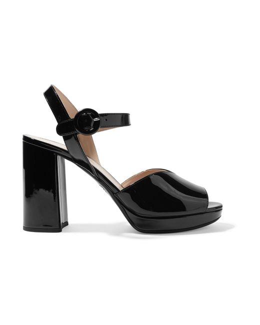 c91935cf284 Prada - Black 95 Patent-leather Platform Sandals - Lyst ...