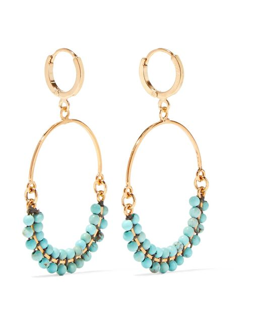 Isabel Marant - Metallic Gold-plated Beaded Earrings - Lyst