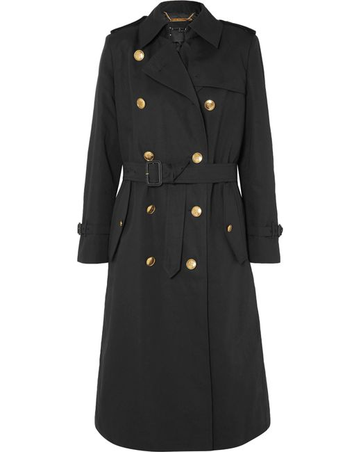 Givenchy - Black Belted Double-breasted Cotton And Linen-blend Twill Coat - Lyst