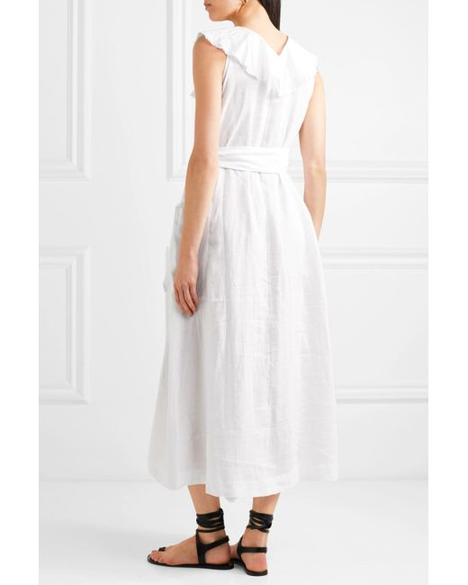 21dee95f144 ... Three Graces London - White Mable Ruffled Linen Midi Dress - Lyst ...
