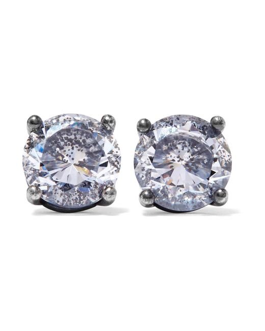Bottega Veneta | Metallic Oxidized Silver Cubic Zirconia Earrings | Lyst