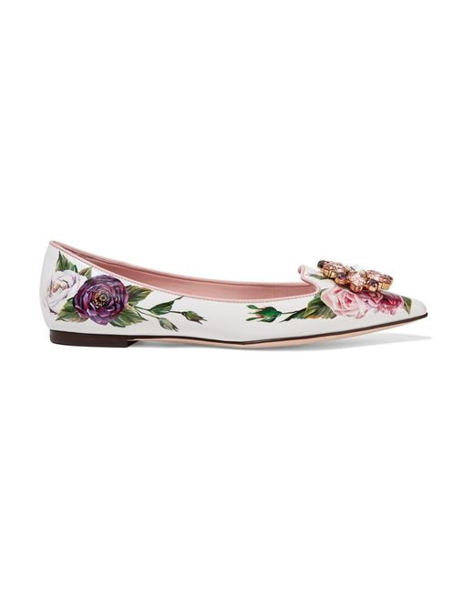 Dolce & Gabbana - White Embellished Floral-print Patent-leather Point-toe Flats - Lyst