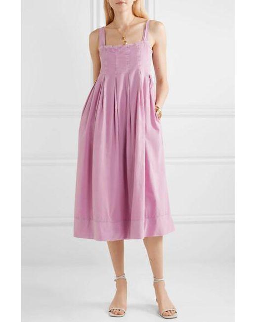 dab4e634c0 ... HATCH - Purple The Alice Pleated Shirred Cotton-voile Midi Dress - Lyst  ...
