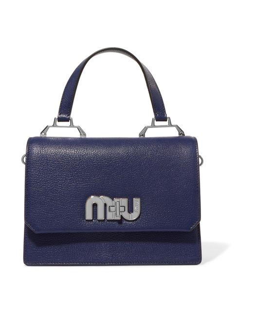 Miu Miu - Blue My Miu Textured-leather And Suede Tote - Lyst