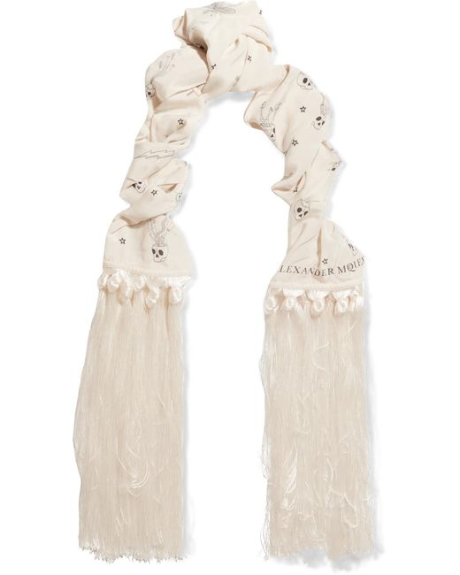 Alexander McQueen | White Fringed Printed Silk Crepe De Chine Scarf | Lyst