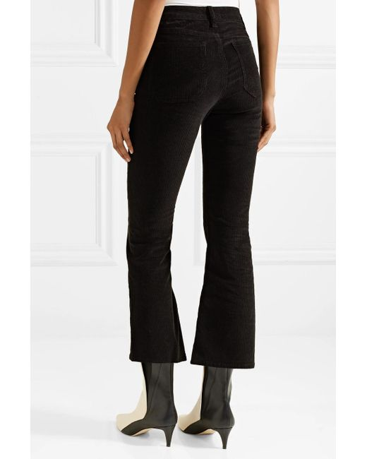 Marty Cropped Stretch-cotton Corduroy Flared Pants - Black Mih Jeans mqOtxhoopK