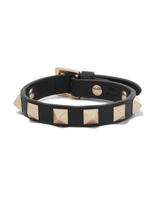 Valentino - Black Garavani The Rockstud Leather Bracelet - Lyst