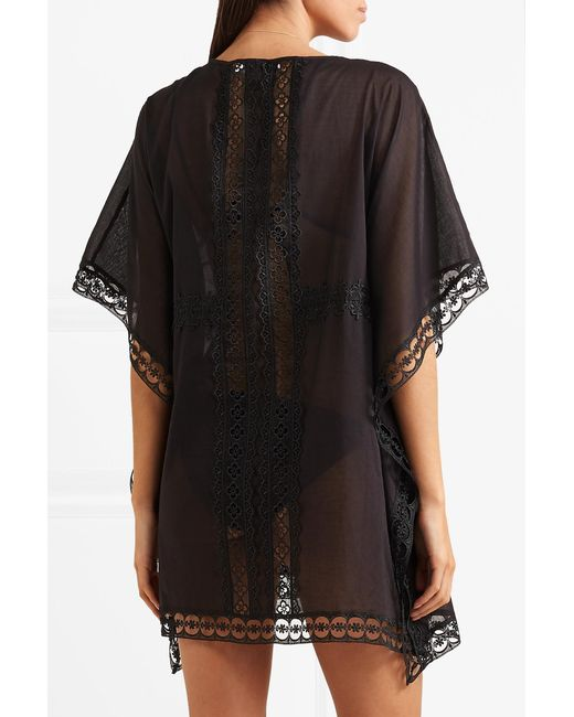100% Authentic Cheap Price Kayla Crocheted Lace-paneled Cotton-blend Kaftan - Black Charo Ruiz Ibiza Cheap Best Store To Get Best Seller Cheap Online Particular Discount Where Can I Order T2Or5lU363