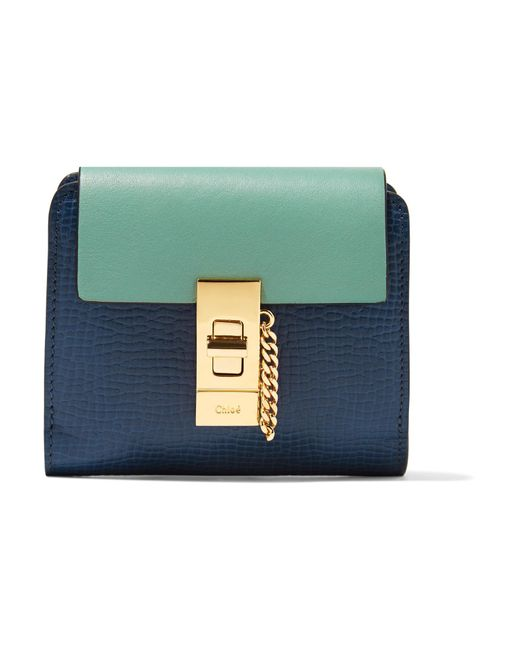 Chloé | Blue Drew Two-tone Smooth And Textured-leather Wallet | Lyst
